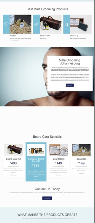 Male grooming website